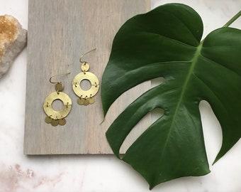 Modern Hammered Brass Circle + Discs Earrings