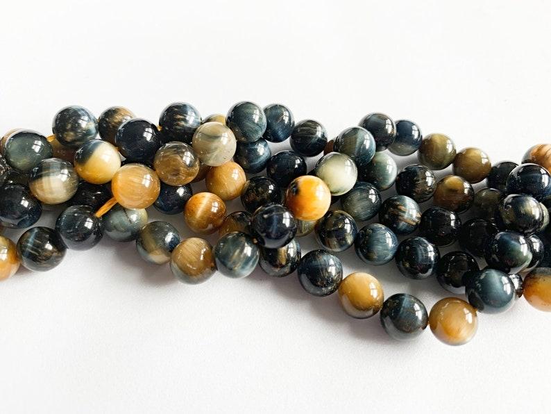 8mm Dyed Blue Tiger Eye Round Beads
