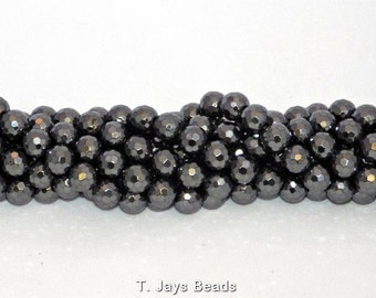 8mm Faceted Hematite Beads 128 Facets