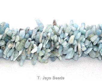 Aquamarine Long Chip Beads 6x18mm