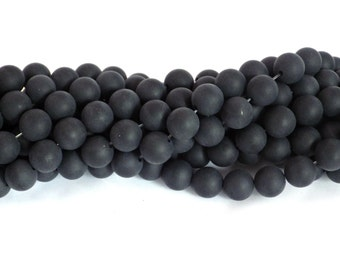 8mm Frosted Black Onyx Beads
