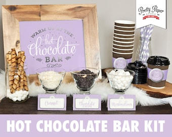 Hot Chocolate Bar Printable Kit // INSTANT DOWNLOAD // Purple & Silver Gray // Hot Cocoa Party // Sign, Labels, Cup Tags