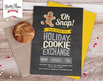 Oh Snap! Holiday Cookie Exchange Invitation // Cookie Swap Invite // Cookie Decorating // Chalkboard // Christmas Printable // CE01