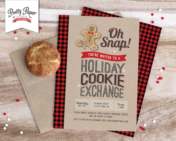 Oh Snap Holiday Cookie Exchange Invitation Buffalo Plaid Etsy