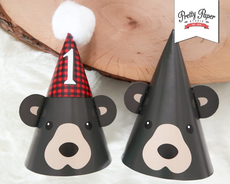 Black Bear 1st Birthday Party Hats INSTANT DOWNLOAD
