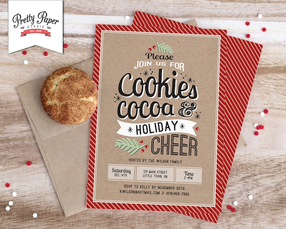 Christmas Party Invitation Holiday Cookie Exchange Hot Cocoa