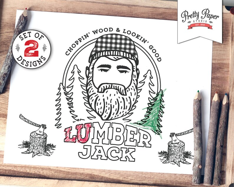 Coloring Pages Lumberjack Lumberjill Instant Download Etsy