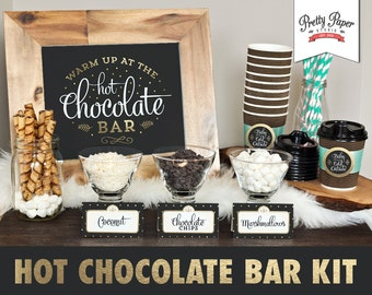Hot Chocolate Bar Printable Kit // INSTANT DOWNLOAD // Hot Cocoa Party // Sign, Labels, Cup Tags