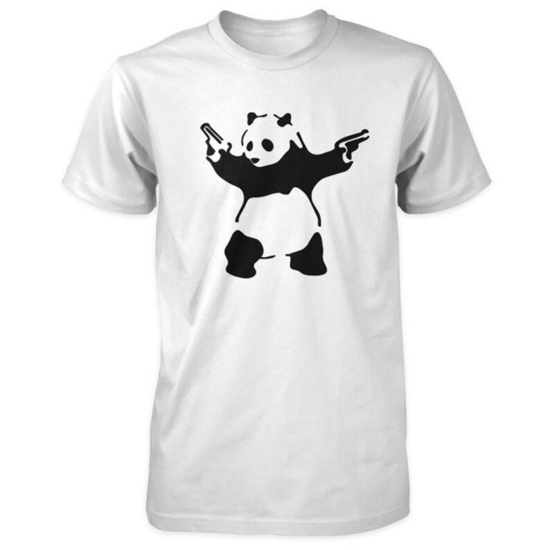 Banksy T-Shirt  Panda with Guns  Shooting Panda image 0