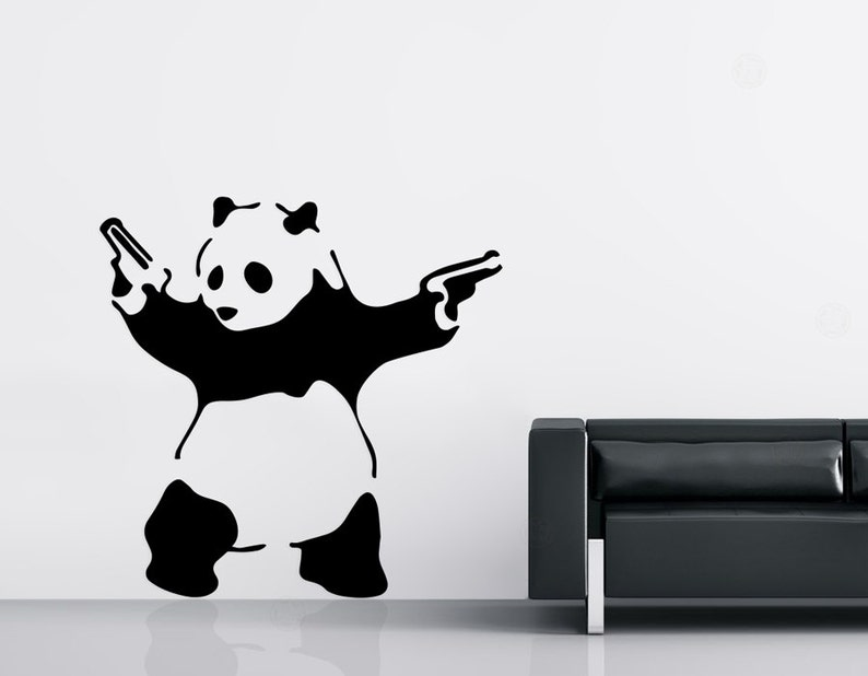 Banksy Wall Decal  Panda with Guns  Graffiti Art Vinyl image 0