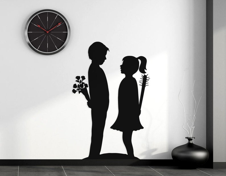 Boy Meets Girl Removable Vinyl Wall Decal inspired by Banksy image 0