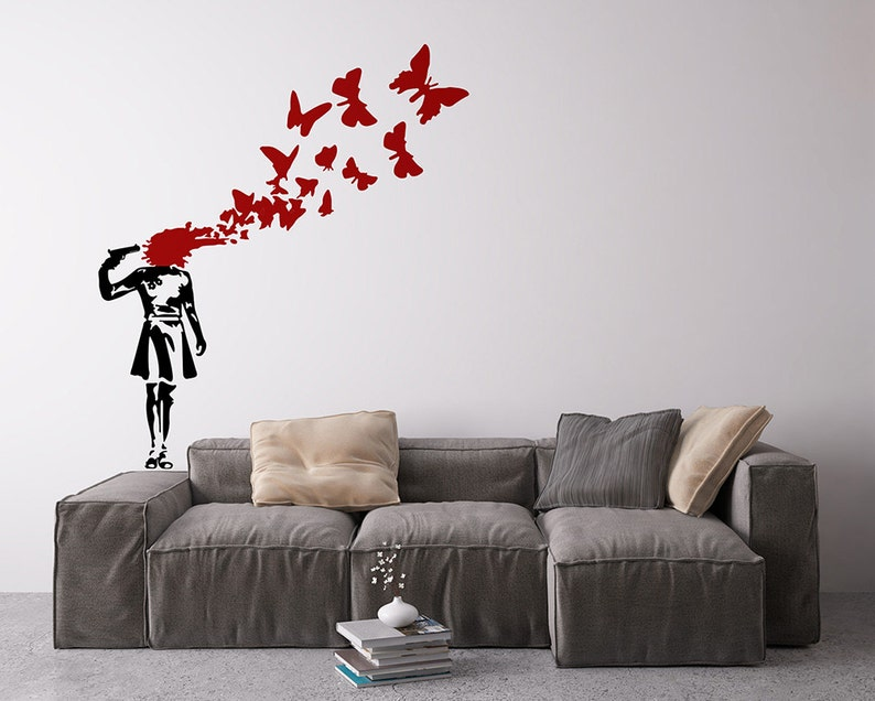 Banksy Suicide Butterflies Removable Vinyl Wall Decal  image 0