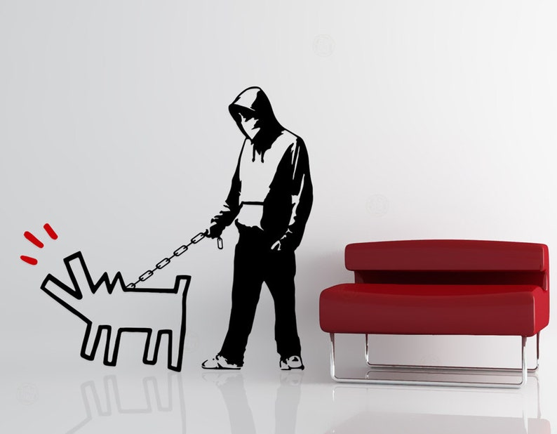 Banksy Keith Haring Tribute Vinyl Wall Decal  Choose Your image 0