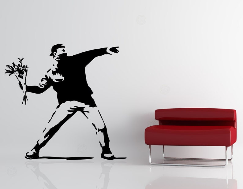Banksy Wall Decal  Love Is In the Air  Flower Thrower image 0