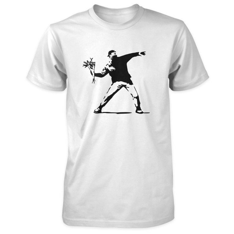 Banksy Love Is In the Air T-Shirt  Flower Thrower Molotov Guy image 0
