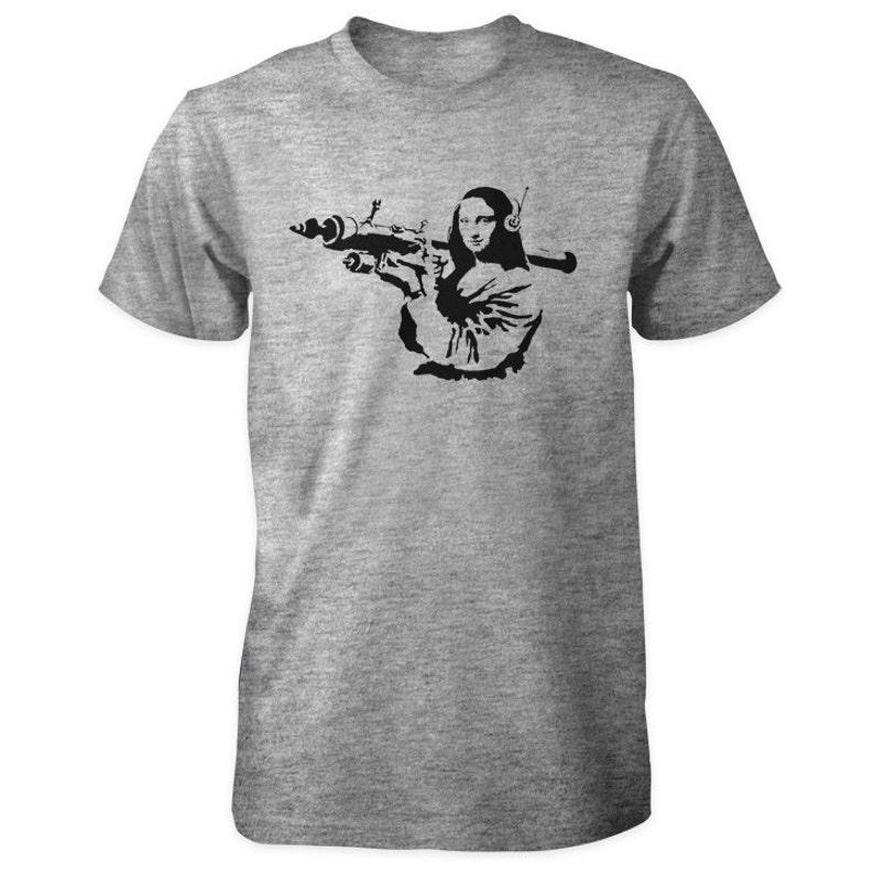 Banksy Mona Lisa Bazooka T-Shirt image 0
