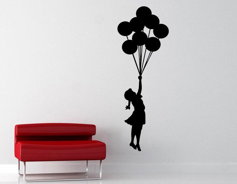 Banksy Balloon Girl Removable Vinyl Wall Decal  Flying Girl image 0