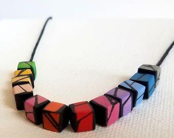 Rainbow Minimal Wood Necklace