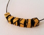 Gold Geometric Wood Bead Necklace Designed by HueWood