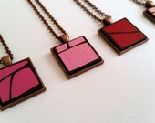 Metallic Pink Painted Wood Geometric Pendant