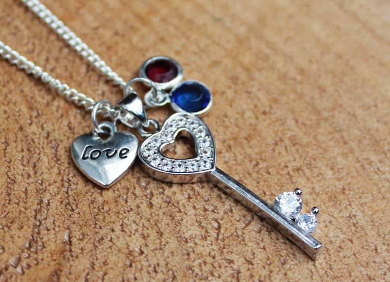 Corazón Y Llave de encanto-Sterling Silver Charms-Romance
