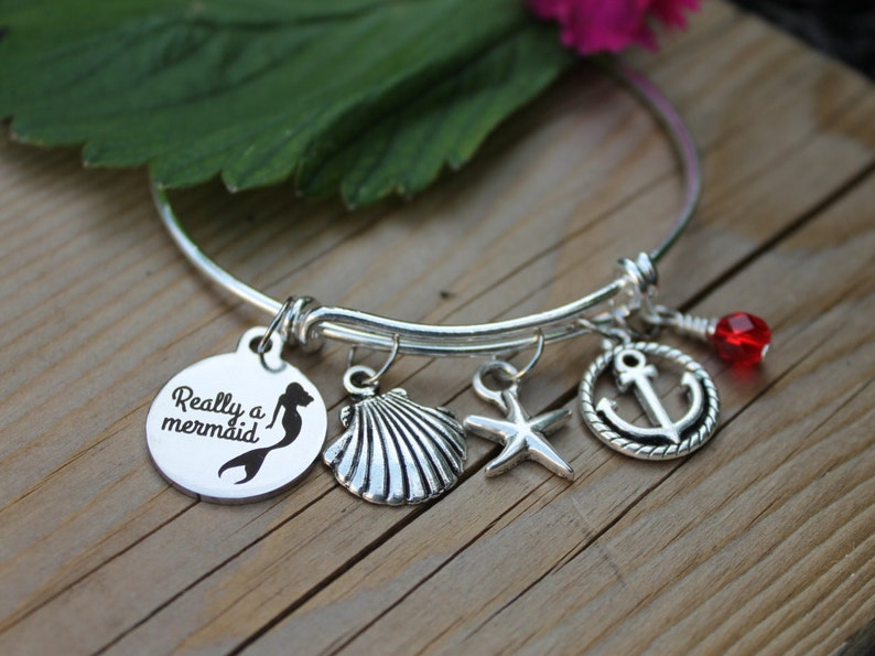 Shell Jewelry Beach Lover Sea Lover/'s Bangle Ocean Lover Starfish Jewelry Custom Jewelry Charm Bracelet Really A Mermaid Bangle