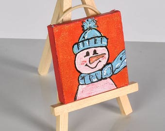 Mini canvas painting for christmas and easle