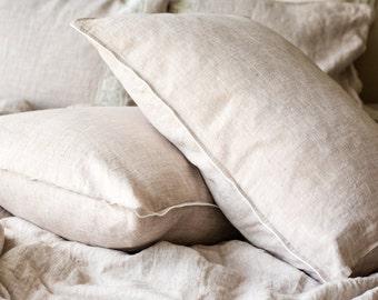 Linen PILLOWCASE, Stonewashed linen pillow case in beige, Softened linen pillow slip, Regular linen pillow cover, Linen pillow slip