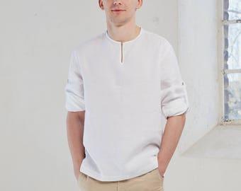 Linen shirt, Linen men's shirt, White linen shirt, Linen shirt men's, Linen summer shirt, Long sleeve linen shirt,Roll up sleeve linen shirt