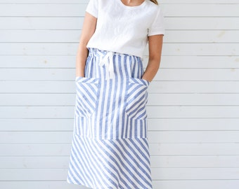 Linen skirt, Midi linen skirt in blue, Flax skirt blue, Linen summer skirt with pockets. Linen summer skirt, Linen skirt, Blue linen skirt
