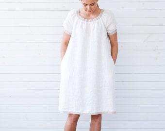 Linen dress, White linen tunic, Short sleeve linen summer dress with pockets, Flax summer dress, White linen summer dress, Linen dress white