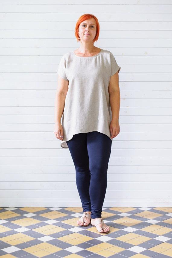 Además de túnica de lino del tamaño suelta ajuste camisa | Etsy