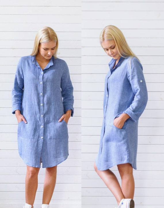 27c03176a4 Linen dress Shirt dress Linen tunic Summer dress Linen