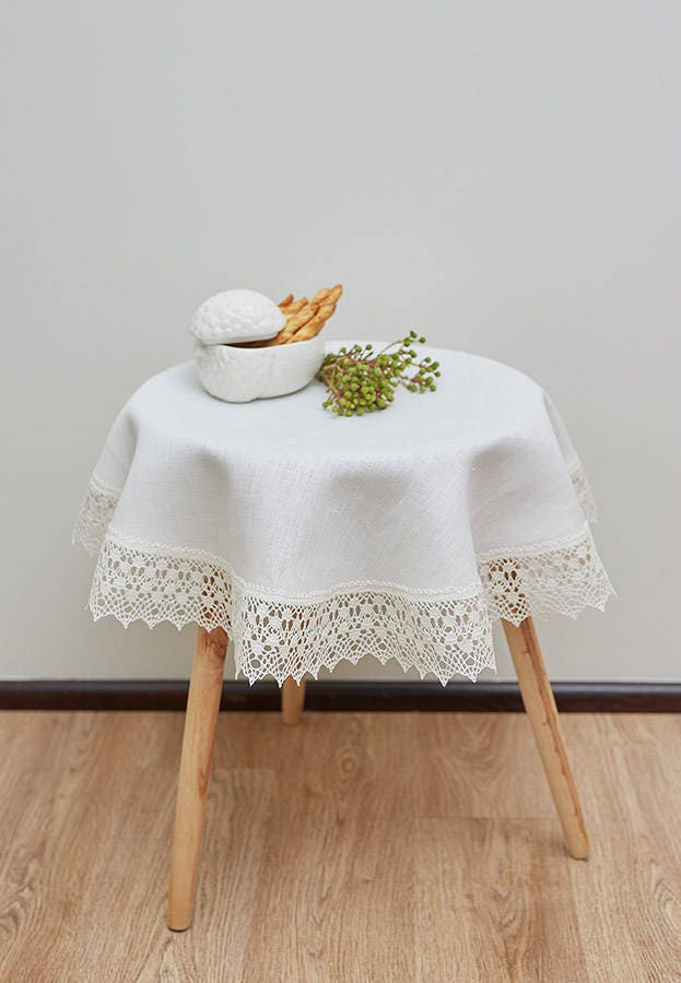 linen christmas tablecloth linen round tablecloth white etsy. Black Bedroom Furniture Sets. Home Design Ideas