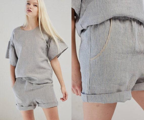 a34e15def2852 Women s linen shorts Striped summer shorts Natural flax