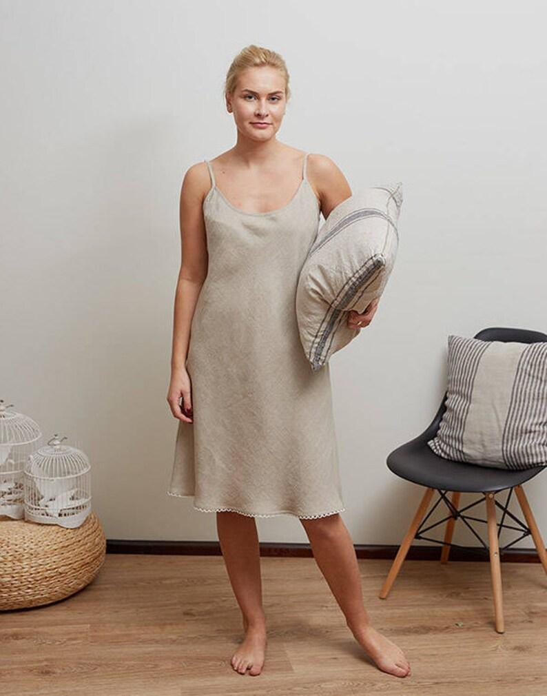 cc43a3ee523 Linen night gown Linen night dress Linen slip dress Linen