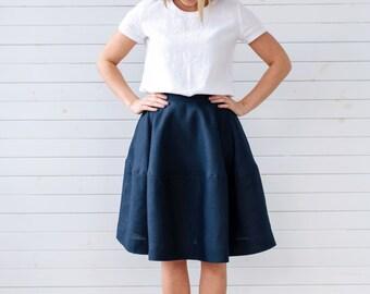 Linen skater skirt, Linen skirt for summer, Navy blue linen skirt, Natural linen skirt, Linen skirt with pockets, Blue skirt, Handmade skirt
