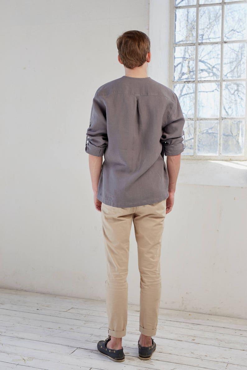 Linen shirt men/'s Long sleeve linen shirt,Roll up sleeve linen shirt Linen men/'s shirt Brown linen shirt Linen summer shirt Linen shirt