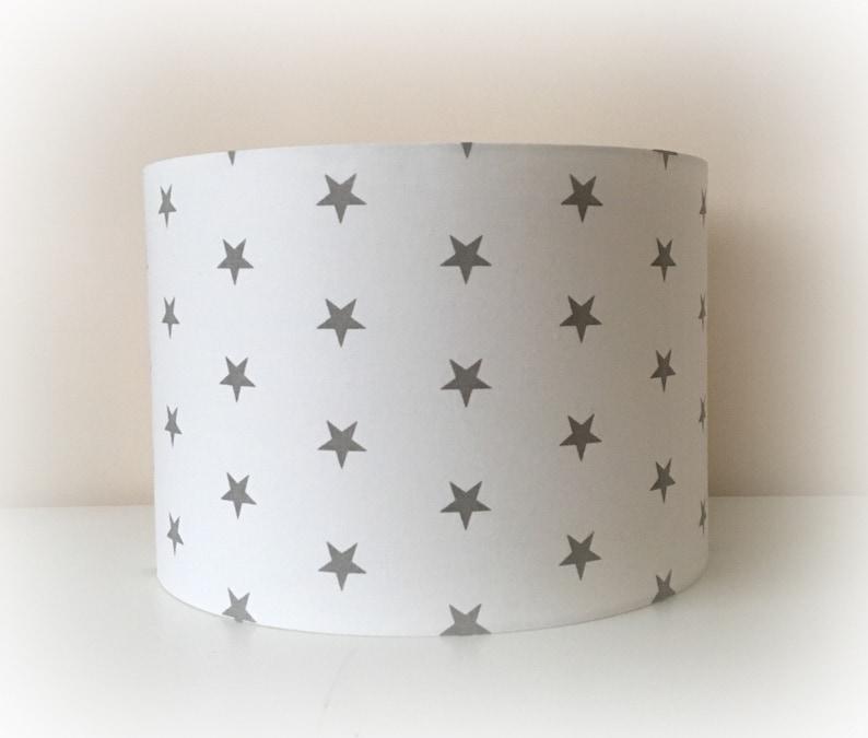 White With Grey Stars Lampshade Handmade In 30cm Drum Nursery Bedroom