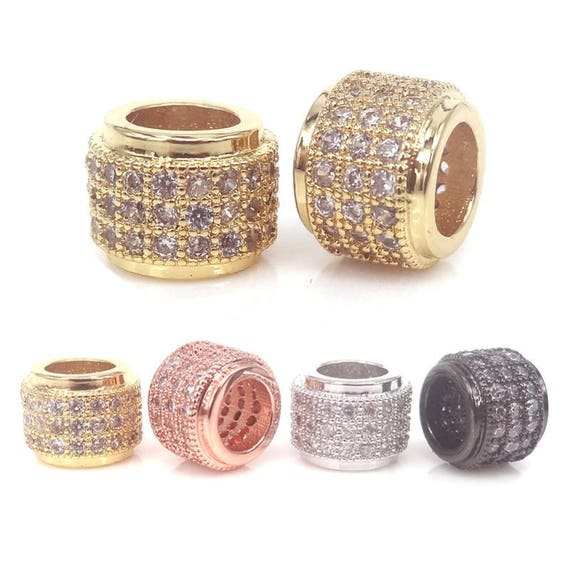 Bracelet Findings GLD339 8x13mm 24kShiny GoldPlated CZ Micro Pave Round Bracelet Charms,CZ Pave Round Charms,Cubic Zirconia Round Charms