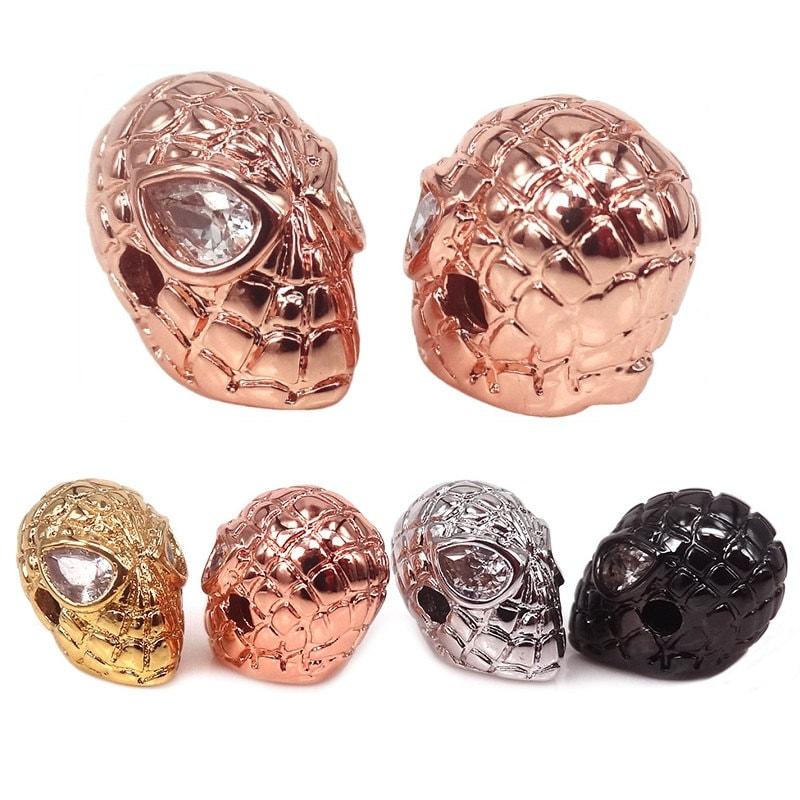 DEC18056 Antique Superhero Clear CZ Men Bracelet Findings Multicolor Micro Pave Cubic Zirconia Eye Spider-man Spacer Beads