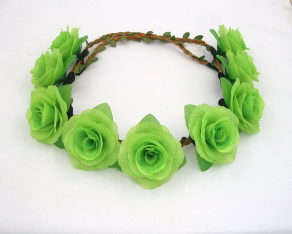 Items similar to Green Flower Crown 5520ba90a4d