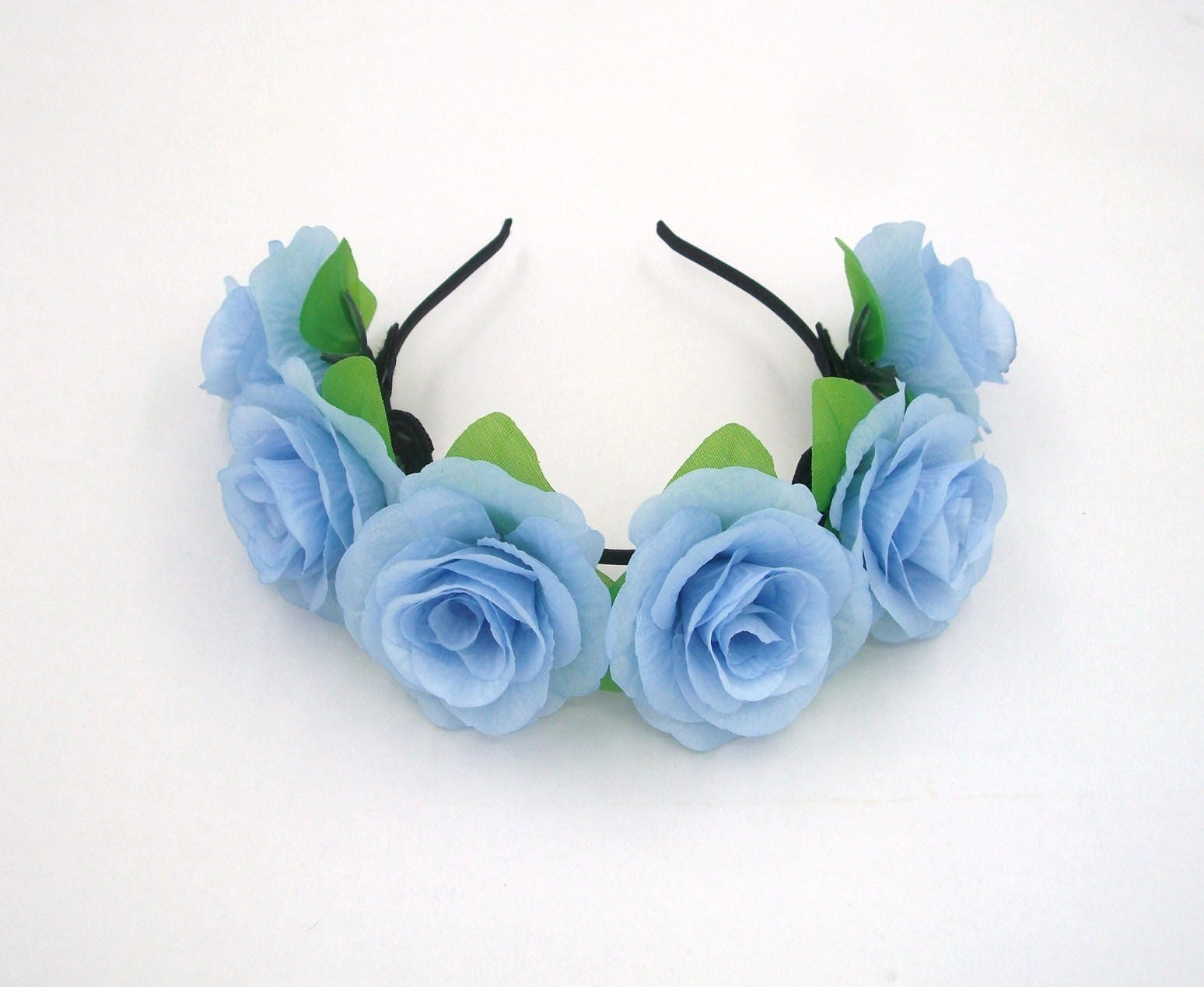 Sky blue flower crownblue rose headbandblue flower etsy zoom izmirmasajfo