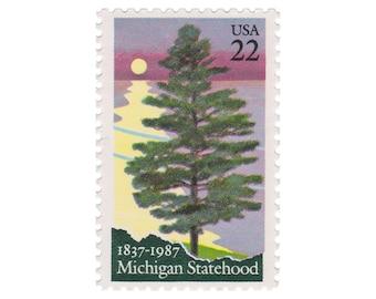 10 Unused Vintage US Postage Stamps - 1987 22c Michigan - Item No. 2246