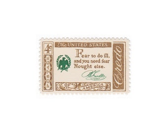 1960 4c Credo Series - Benjamin Franklin Quote - 10 Vintage Unused US Postage Stamps - Item No. 1140