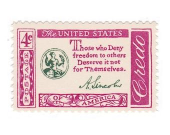 1960 4c Credo Series - Abraham Lincoln Quote - 10 Vintage Unused US Postage Stamps - Item No. 1143