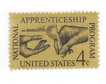 10 Unused US Vintage Postage Stamps - 1962 4c Apprenticeship Program - Item No. 1201