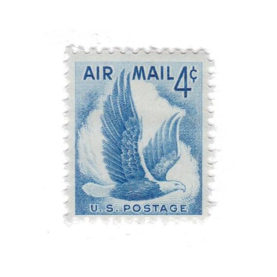 1954 4c Airmail Eagle Blue 10 Unused Vintage Postage Stamps Item No C48