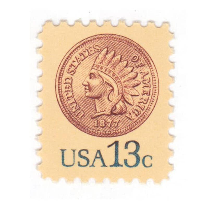 10 Unused Vintage Postage Stamps - 1978 13c Indian Head Penny Stamp - Item  No  1734