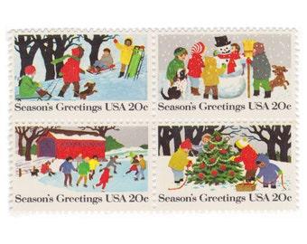 12 Unused Vintage Postage Stamps - 1982 20c Seasons Greetings - Item No. 2027